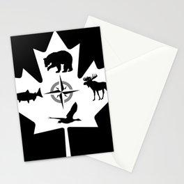 Maple Leaf Canadian Animal Digital Art Stationery Cards