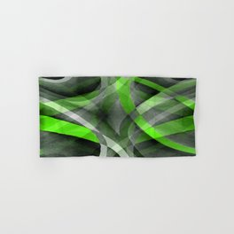 Eighties Vibes Lime and Grey Layered Curve Pattern Hand & Bath Towel