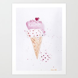 Ice cream Love watercolor illustration summer love pink strawberry Art Print