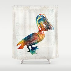 Colorful Pelican Art 2 by Sharon Cummings Shower Curtain