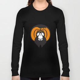 Orangutan Bearded Tussled Hair Retro Long Sleeve T-shirt