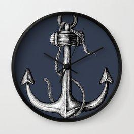Blue Nautical Anchor Wall Clock