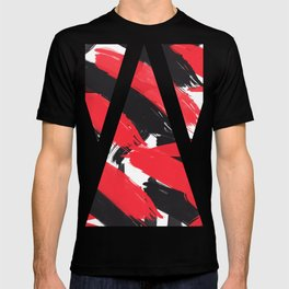 Modern Abstract Black Red Brush Strokes Pattern T-shirt