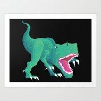 dinosaur Art Prints featuring Dinosaur by Flame