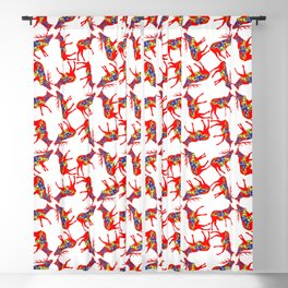 Graphic Swedish Dala Elk Pair Multiples Blackout Curtain
