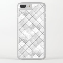 Faux Patchwork Quilting - White & Silver Pattern Clear iPhone Case