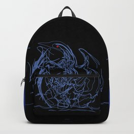 Swan 1. Light blue on Black background-(Red eyes series) Backpack