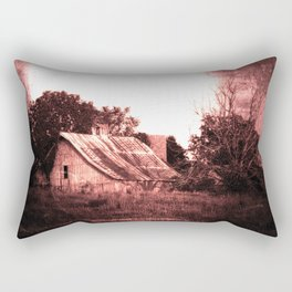 Rustic, Abandoned Barn in Crimson Red, Spooky, Surreal Rectangular Pillow