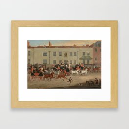 Follower of James Pollard (1792-1867) North Country Mails at The Peacock, Islington Framed Art Print
