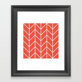 Herringbone Chevron (Tangerine) Framed Art Print