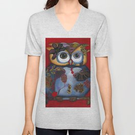 Bohemian Owl and Moon Painting by Kimberly Schulz Unisex V-Neck