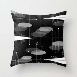 Atomic Space Age Black Throw Pillow