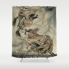 """Four Witches """"Up The Chimney"""" by Arthur Rackam Shower Curtain"""