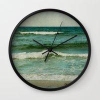 emerald Wall Clocks featuring emerald by Iris Lehnhardt
