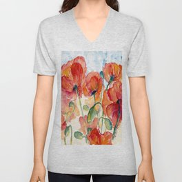 Tangerine Orange Poppy field WaterColor by CheyAnne Sexton Unisex V-Neck
