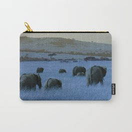 Elephant Herd in Blue Carry-All Pouch