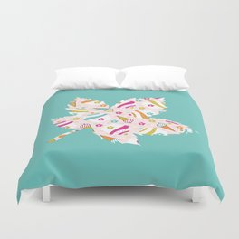 Turquoise Leaf , nursery decor , children gift, birthday gift Duvet Cover