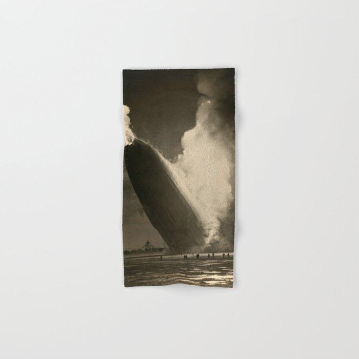 The Hindenburg hits the ground in flames in Lakehurst, N.J. Hand & Bath Towel