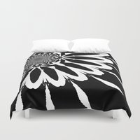 blankets Duvet Covers featuring Black & White Modern Flower by 2sweet4words Designs