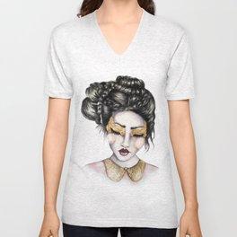 Golden Eyes // Fashion Illustration Unisex V-Neck
