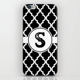 Black Monogram: Letter S iPhone Skin