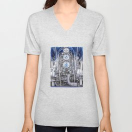 Hot Rod Blue, Automotive Art with Lots of Chrome by Murray Bolesta Unisex V-Neck
