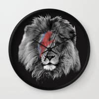 david bowie Wall Clocks featuring David Bowie Lion by Urban Exclaim Co.