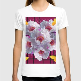 BUTTERFLIES  WHITE TREE PEONY FLOWERS  BURGUNDY ART T-shirt