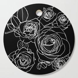Feminine and Romantic Rose Pattern Line Work Illustration on Black Cutting Board