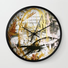 Armor [9]:a bright, interesting abstract piece in gold, pink, black and white Wall Clock