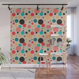 Multicolored Geometric Polka Dot Pattern Wall Mural