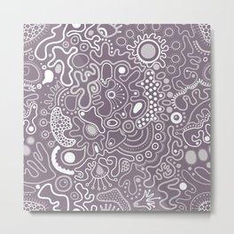 Microbes on grey Metal Print