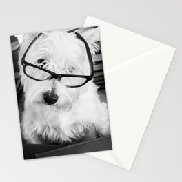 Really? Cute Westie Dog Wearing Glasses Stationery Cards