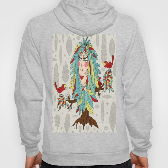 quirky bohemian boho tree, leaves and feather fantasy woman / girl Hoody