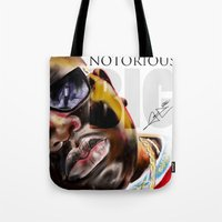 notorious big Tote Bags featuring Notorious BIG by Jamaal lamaaj studio.