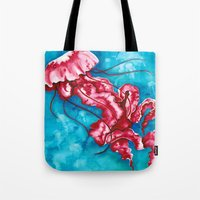 jellyfish Tote Bags featuring Jellyfish by missfortunetattoo