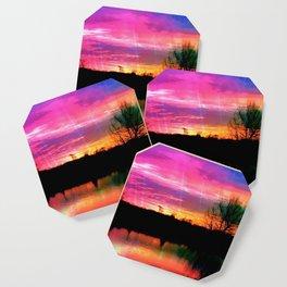 Watercolor January Texas Sunrise Coaster