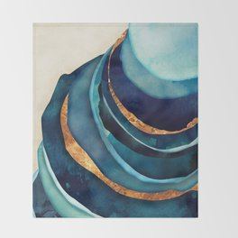 Abstract Blue with Gold Throw Blanket
