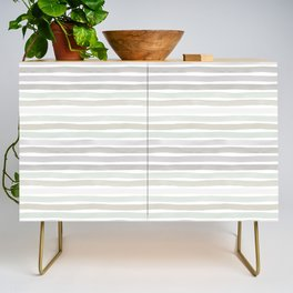 Watercolor Stripes Hues of Grey by Friztin Credenza