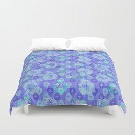 Lotus flower - pool blue woodblock print style pattern Duvet Cover