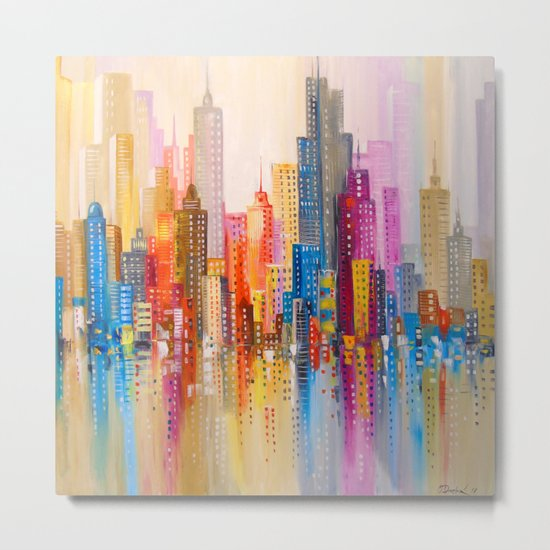 Rainbow city Metal Print