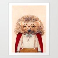 hedgehog Art Prints featuring Hedgehog by Animal Crew
