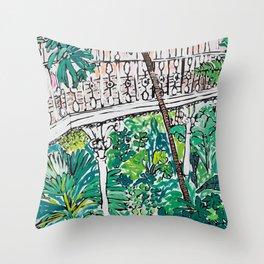 Kew Gardens Jungle Botanical Painting Greenhouse Throw Pillow
