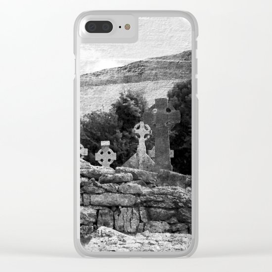 Halloween Graveyard | Horror | Black and White Cemetery | Gothic Graves | Clear iPhone Case