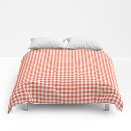 Small Living Coral Orange and White Buffalo Check Plaid Comforters