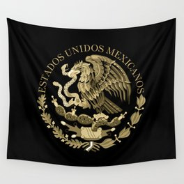 Mexican flag seal in sepia tones on black bg Wall Tapestry