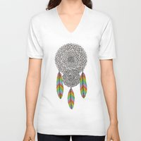 dream catcher V-neck T-shirts featuring Dream Catcher by Luna Portnoi