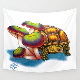 Box Turtle - Multi Color Mushrooms Wall Tapestry
