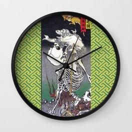 Green Kyosai Skeleton Kitsune Yokai Wall Clock