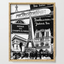 Black-and-White Paris Collage Serving Tray